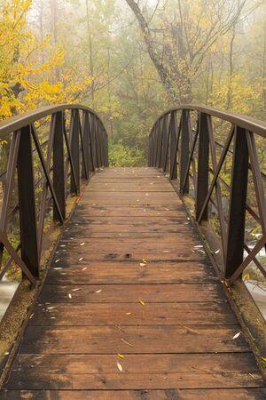 Footbridge Over A Creek In The Woods In Autumn