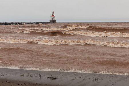 Lake Superior Breakwater Lighthouse On A Stormy Day