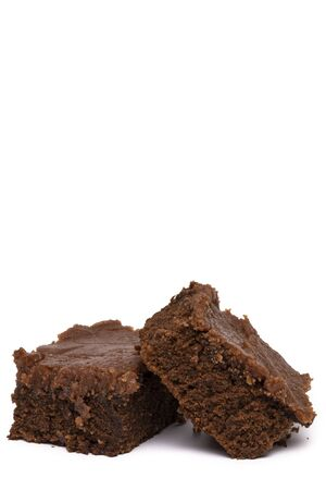 Brownie Bars With Chocolate Frosting Banque d'images