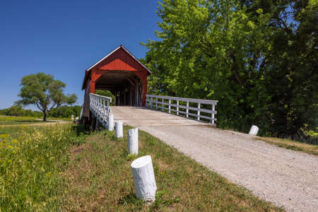 Old Red Covered Bridge In The Country.