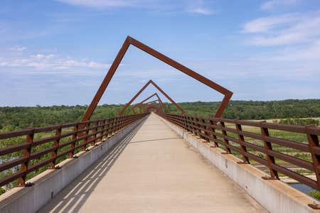 High Trestle Trail Bridge - A bridge on a bike trail that used to be a railroad line. Stock Photo