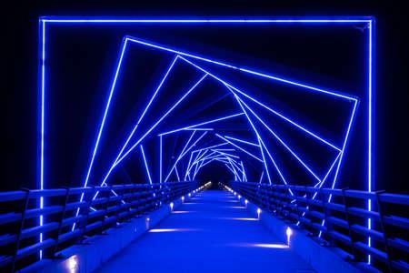 High Trestle Bike Trail Bridge Lit Up At Night