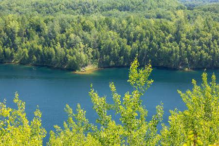 Lake Huntington - A former mine pit turned recreational lake. Stock Photo