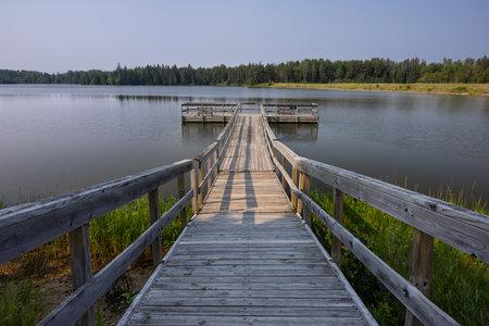 Fishing Dock On Hayes Lake Stock Photo