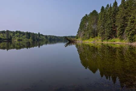 Hayes Lake - A calm reflective lake in northern Minnesota.