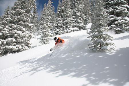 Skier ripping through deep powdersnow