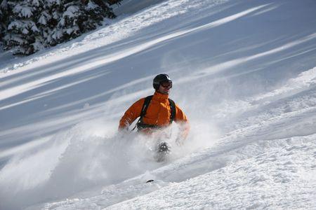 deep powder snow: Freeride skier ripping through waist deep powder snow