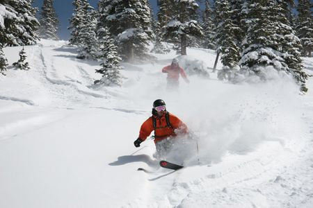 off piste: Skiing in deep powder snow off piste Stock Photo