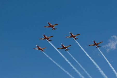 Six airplanes in formation Stock Photo