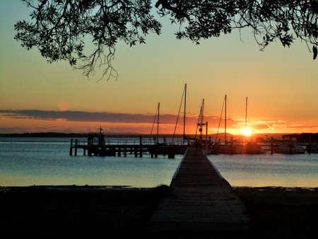 the setting sun: jetty sunset warf tree branches boats on jetty setting sun Stock Photo