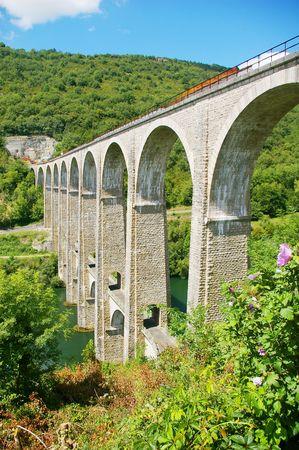 lain: Railway Viaduct crossing the River Ain,Rhone- Alps,France
