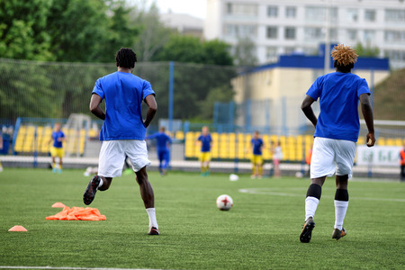 MINSK, BELARUS - JUNE 29, 2018: Soccer players training before the Belarusian Premier League football match between FC Luch and FC BATE at the Olimpiyskiy stadium. Stock Photo - 123677502
