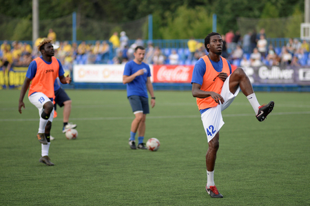 MINSK, BELARUS - JUNE 29, 2018: Soccer player Mohamed Gnontcha Kone training before the Belarusian Premier League football match between FC Luch and FC BATE at the Olimpiyskiy stadium. Editorial