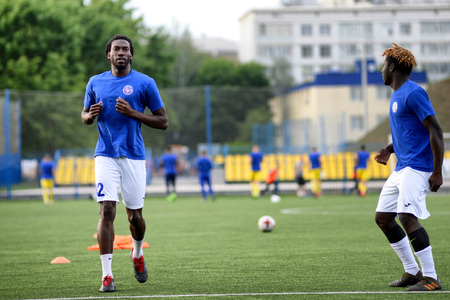 MINSK, BELARUS - JUNE 29, 2018: Soccer players training before the Belarusian Premier League football match between FC Luch and FC BATE at the Olimpiyskiy stadium.