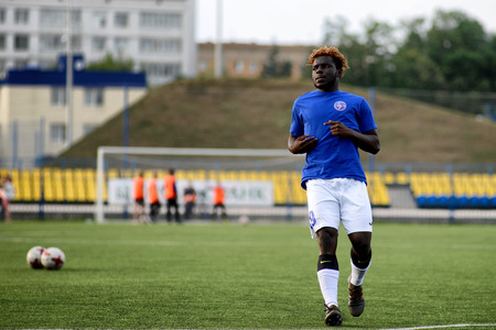 MINSK, BELARUS - JUNE 29, 2018: Soccer player Olabiran Blessing Muyiwa training before the Belarusian Premier League football match between FC Luch and FC BATE at the Olimpiyskiy stadium. Editorial