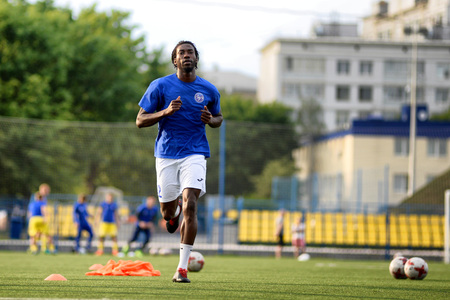 MINSK, BELARUS - JUNE 29, 2018: Soccer player Mohamed Gnontcha Kone training before the Belarusian Premier League football match between FC Luch and FC BATE at the Olimpiyskiy stadium. Redakční