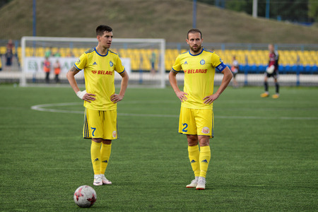 MINSK, BELARUS - JUNE 29, 2018: Soccer playerslooks on during the Belarusian Premier League football match between FC Luch and FC BATE at the Olimpiyskiy stadium.
