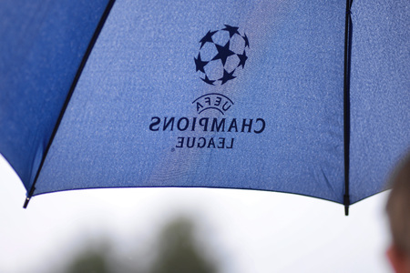 MINSK, BELARUS - JUNE 29, 2018: Umbrella with UEFA champions league icon during the Belarusian Premier League football match between FC Luch and FC BATE at the Olimpiyskiy stadium.