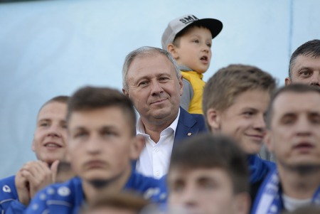 MINSK, BELARUS - MAY 23, 2018: Sergey Rumas-Chairman of Board of the Development Bank during the Belarusian Premier League football match between FC Dynamo Minsk and FC Bate at the Tractor stadium.