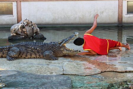 The man showed his head stuffed into the crocodile's mouth