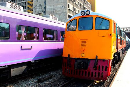 The locomotive was stationary at the train station, Bangkok, Thailand Banco de Imagens