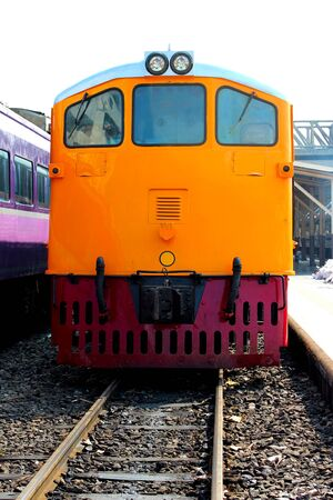 The locomotive was stationary at the train station, Bangkok, Thailand