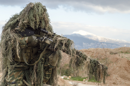 sniper training: Sniper ghillie suit sit
