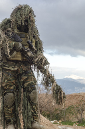 invisible: Sniper ghillie suit stand up front view
