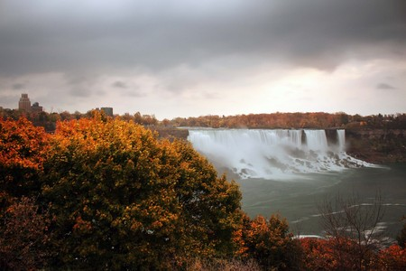 American Falls in Autumn Colors viewed from Canada