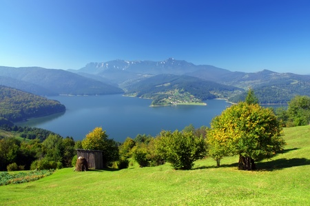 mountain and lake in Romania Stock Photo