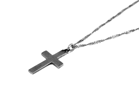 silver cross: silver cross isolated Stock Photo
