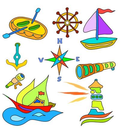 ventana ojo de buey: barco de vela y un conjunto