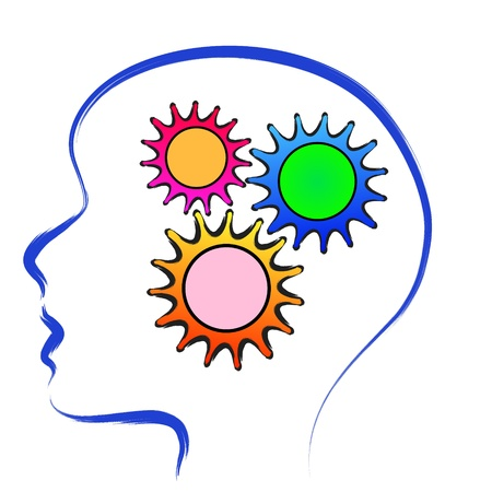 thinker: human brain with gears