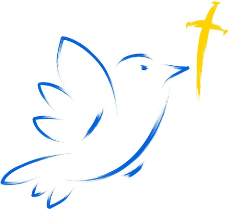 dove with cross religious illustration Vector