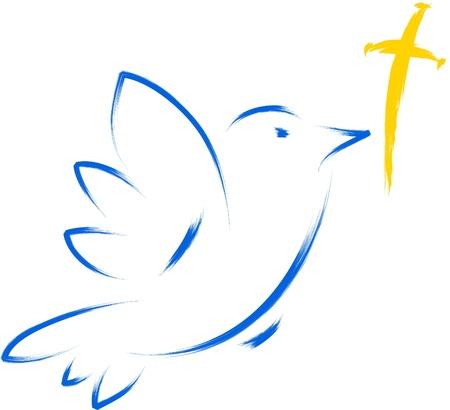 cross and wings: paloma con la ilustraci�n religiosa de la Cruz Vectores