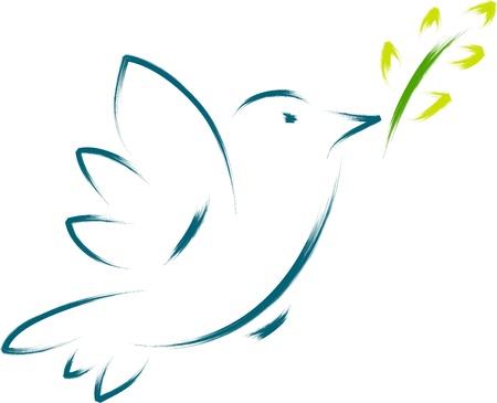 꽃과 평화 비둘기 일러스트