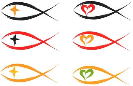 j�sus croix: ensemble de symboles chr�tiens de poissons