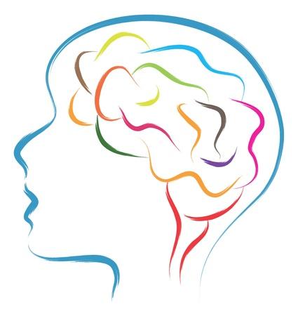 dessin au trait: t�te et illustration abstraite du cerveau