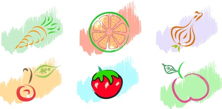 fruits vegetables illustration Vector