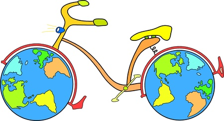 bicycle with world globe wheels Vector