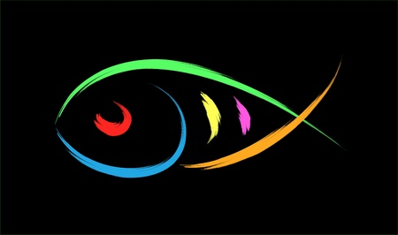 christian fish: peces ilustraci�n de s�mbolo Vectores