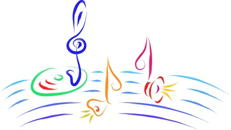 funny illustration of music notes Vector