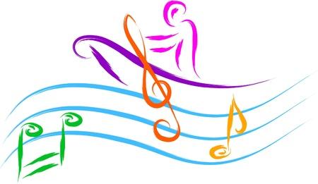 notes de musique: l'homme et bateau � voile sur l'eau de la musique, croquis abstrait Illustration