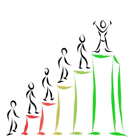 steps to success: business people success on graph Illustration