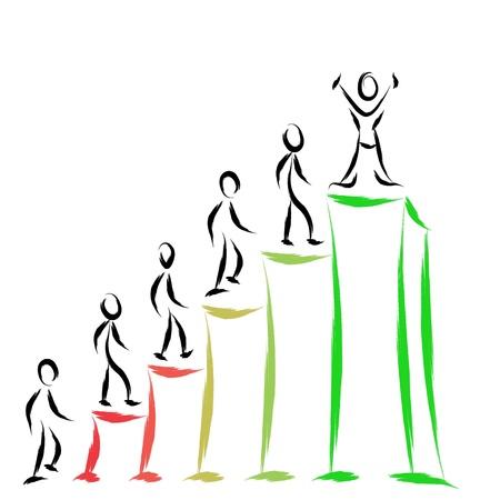 climbing stairs: la gente de negocios de �xito en el gr�fico Vectores