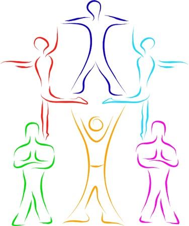 piramide humana: el trabajo en equipo la gente boceto Vectores
