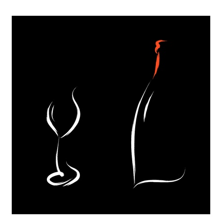 wine bar in black background sketch Vector