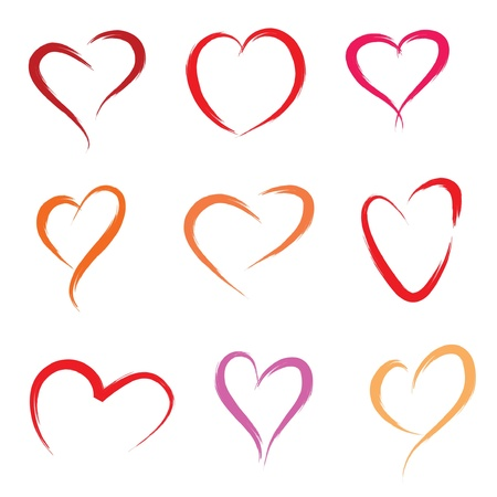 brush stroke: set of scribble hearts