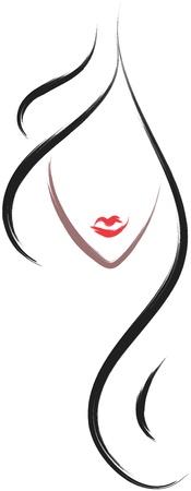 人間の髪の毛: 描画スタイル ブラシで髪サロン ロゴ アイコン  イラスト・ベクター素材