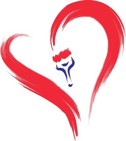 hartje cartoon: borstel tekening hart schets Stock Illustratie